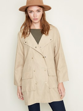 Ericdress Plain Double-Breasted LapelTrench Coat