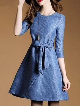 Ericdress Print 3/4 Sleeve Bowknot A Line Dress