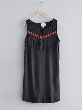 Ericdress Fringe Embroidery Bohemian Suspenders Dress