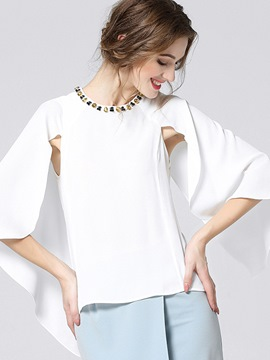 Ericdress Solid Color Caped Stylish Blouse