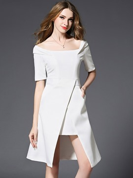 Ericdress Half Sleeve Asymmetrical Zipper A Line Dress