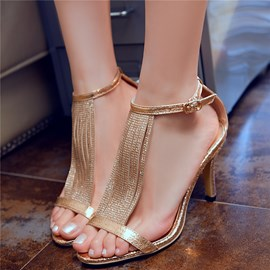 Ericdress Glittering Tassels Open Toe Stiletto Sandals