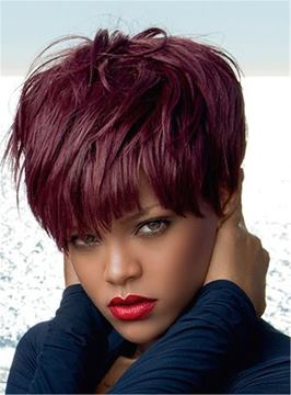 Ericdress Rihanna Red Pixie Layered Short Straight Human Hair With Full Bangs Capless Cap Wigs 6 Inches