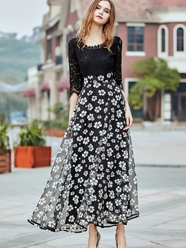 Ericdress Patchwork Floral Expansion Travel Look Maxi Dress