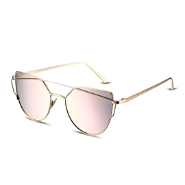 Ericdress Metal Frame Pink Flat Lenses Fashion Sunglasses