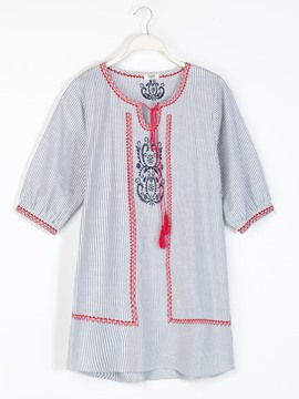 Ericdress Strip Embroidery Lace-Up Straight Casual Dress