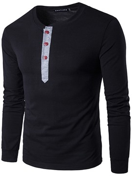 Ericdress Patchwork Button Collar Long Sleeve Men's T-Shirt