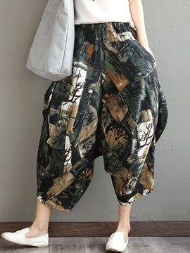 Ericdress High Waisted Flower Print Chiffon Women's Pants