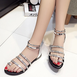Ericdress Sweet Rhinestone Toe Ring Flat Sandals