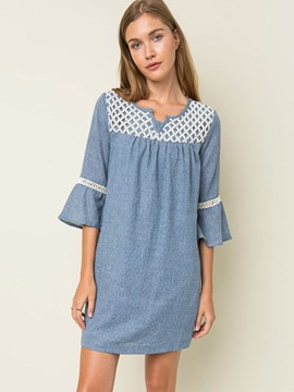 Ericdress Patchwork Pleated Ruffle Sleeve Above Knee Casual Dress