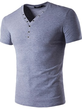 Ericdress Plain Unique V-Neck Casual Slim Men's T-Shirt