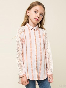 Ericdress Lace Print Lapel Raglan Sleeve Girls Shirt