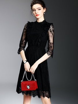 Ericdress Stand Collar See-Through Patchwork Lace Dress