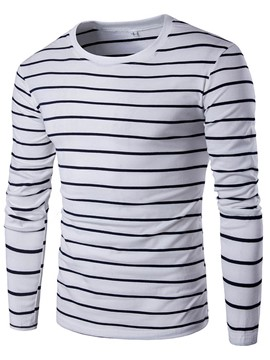 Ericdress Plain Long Sleeve Stripe Men's T-Shirt