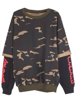 Ericdress Oversized Camouflage Patchwork Cool Hoodie