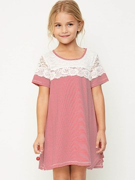 Ericdress Lace Hollow Stripe Short Sleeve Dress