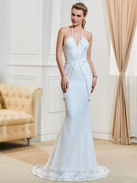 Fancy Halter Beaded Lace Mermaid Wedding Dress