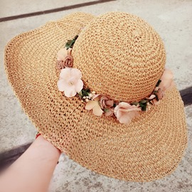 Ericdress Sweet Flowers Decorated Dome Crown Beach Straw Hat