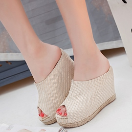 Ericdress Kintting Peep Toe Wedge Mules Shoes