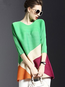 Ericdress Loose Color Block T-Shirt