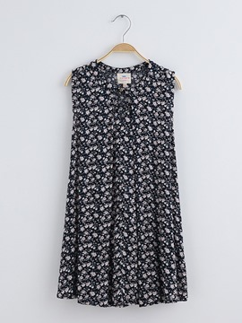 Ericdress FloralSleeveless Mid-Length Girls Shirt