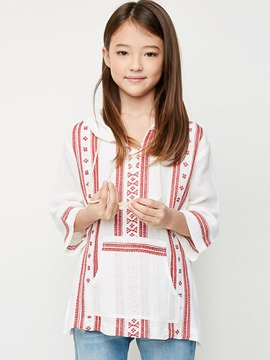Ericdress Ethnic Print Pocket Hooded Girls Shirt