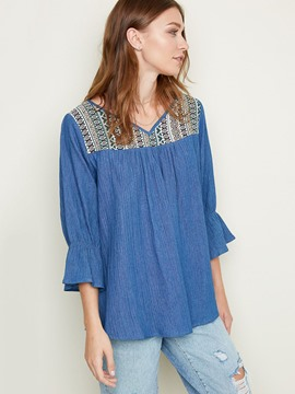 Ericdress Casual Ethnic Flare Sleeve Blouse