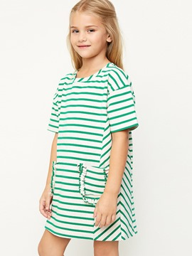 Ericdress Stripe Pocket Above Knee Girls Dress