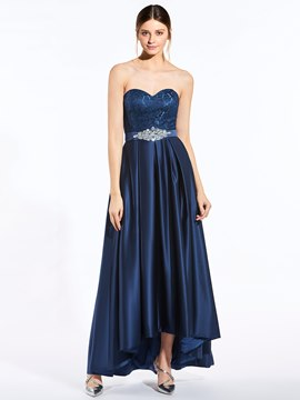 Beautiful Sweetheart Beaded A Line Asymmetry Bridesmaid Dress