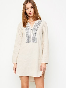Ericdress V-Neck Button Embroidery Casual Dress