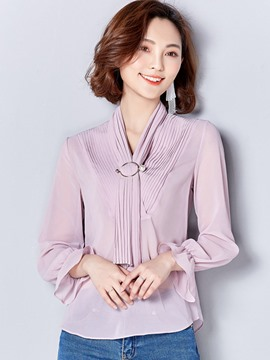 Ericdress Loose Pleated Chiffon Blouse