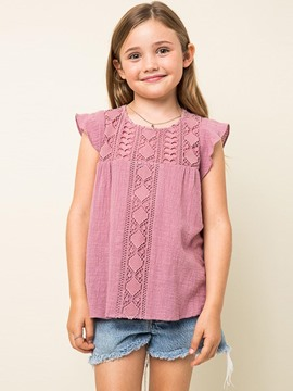 Ericdress Ruffles Lace Plain Pullover Girls Shirt