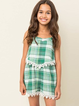 Ericdress Plaid Lace Girls Jumpsuit