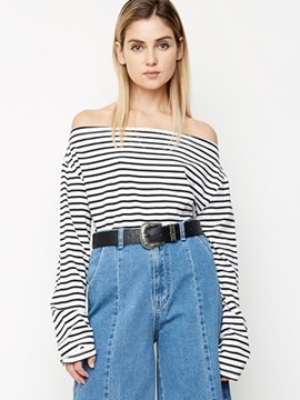 Ericdress Stripe Slash Neck T-Shirt