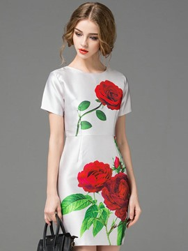 Ericdress Floral Print Back Zipper Short Sleeve Bodycon Dress