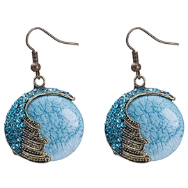 Ericdress Delicate Blue Round Glass Pendant Earrings