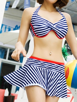 Ericdress Color Block Stripe Halter Swimwear