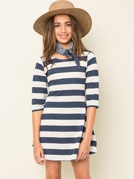 Ericdress Stripe Backless Scoop Half Sleeves Dress