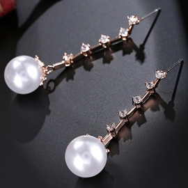 Ericdress Simple New Style Long Artificial Pearls Earrings
