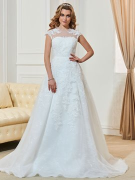 Ericdress Charming Jewel Cap Sleeves Appliques A Line Wedding Dress