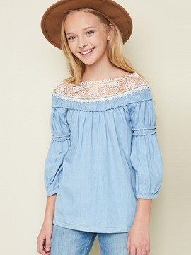 Ericdress Lace Patchwork Lantern Sleeve Slash Neck Girls Shirt