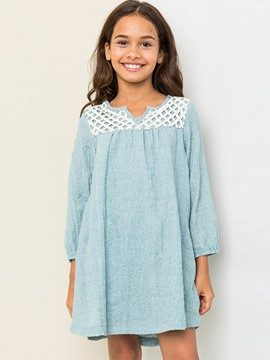 Ericdress Pleated Lace Nine Points Sleeves Cotton Dress