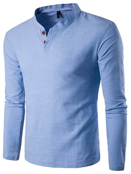 Ericdress Solid Color Long Sleeve Linen Casual Men's T-Shirt