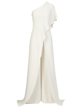 Ericdress Ruffles Wide Leg Women's Elegant White Jumpsuit