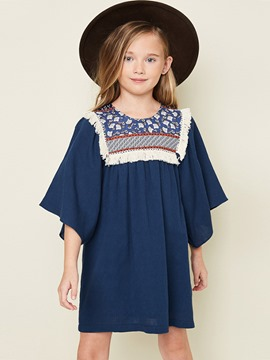 Ericdress Print Pleated Pullover 3/4 Length Sleeves Dress