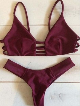 Ericdress Plain Hollow Spaghetti Strap Bikini Set