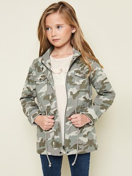 Ericdress Camouflage Printed Drawstring Girl's Coat