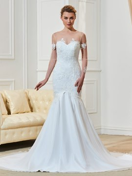 Ericdress Scoop Appliques Long Sleeves Mermaid Wedding Dress