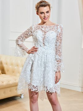 Ericdress A Line Lace Asymmetry Reception Wedding Dress