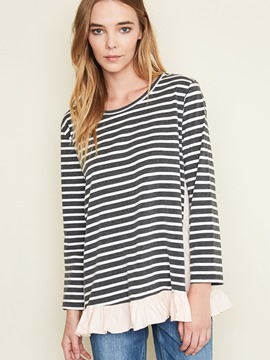 Ericdress Casual Stripe Patchwork T-Shirt
